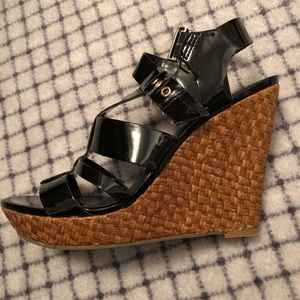 Jessica Simpson woven black wedges